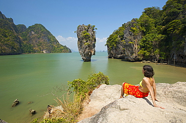 Woman with a view of Khao Phing Kan or James Bond Island, Krabi, Thailand, Asia