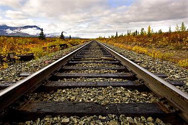 Railroad track, Fairbanks, Alaska, USA, North America