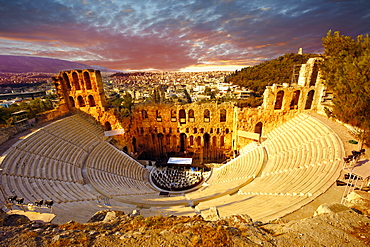 Odeon of Herodes Atticus, an amphitheater on the slopes of the Acropolis, Athens, Central Greece, Greece, Europe