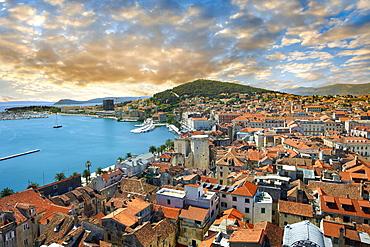 Roof tops of the medieval city of Split, Croatia, Europe