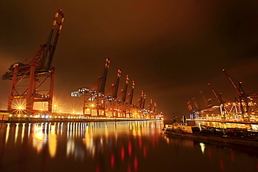 Waltershoferdamm 2 with the cranes of Container Terminal Burchardkai and EUROGATE Container Terminal, Hamburg, Germany, Europe