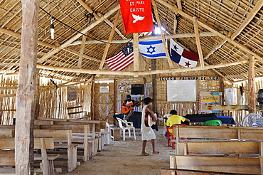 Church of Nalunega, a Kuna Indian village, San Blas Islands, Panama, Central America