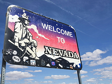 Sign on the Nevada State Route 374, Nevada, USA, North America