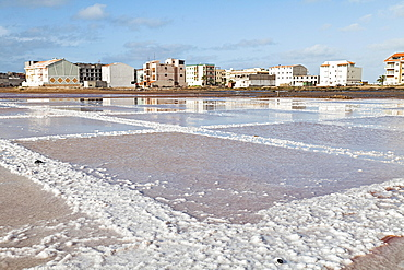 Salt basin in the disused saline, Sal Rei, Boa Vista, Cape Verde, Africa