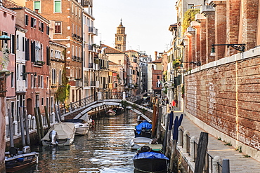 Canal Rio de la Fornace with bridges and boats, Venice, Italy, Europe