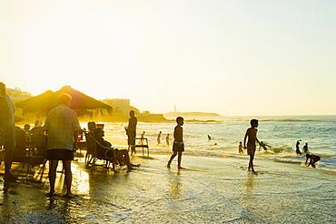 Beach bar at sunset, Los Canos de Meca, Cadiz province, Costa de la Luz, Andalusia, Spain, Europe