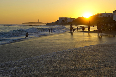 Beach at sunset, Los Canos de Meca, Cadiz province, Costa de la Luz, Andalusia, Spain, Europe