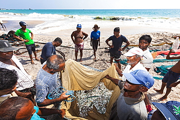 Fishermen, day labourers, examining a meagre catch in a net on the beach, near Kottegoda, Southern Province, Sri Lanka, Asia