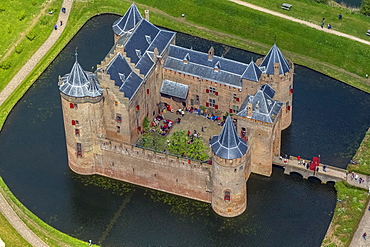 Aerial view, Muiderslot castle, moated castle and museum, Muiden, Province of North-Holland, Netherlands
