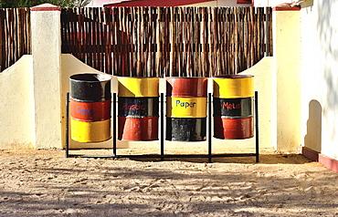 Waste separation, lodge, Sossusvlei, Namibia, Africa