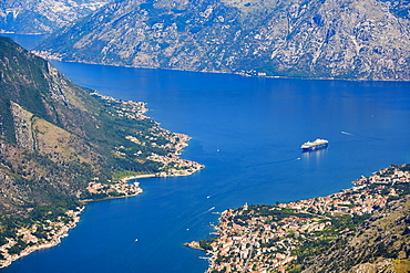 Bay of Kotor with the villages Muo, Prcanj and Dobrota near Kotor, Montenegro, Europe
