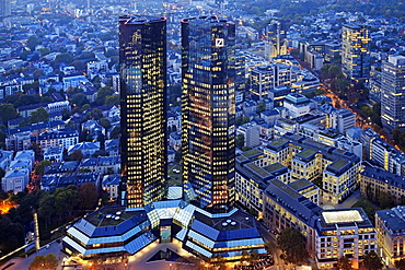 Mirrored twin towers of Deutsche Bank at dusk, Group Headquarters, Frankfurt am Main, Hesse, Germany, Europe