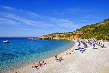 Beach Drobni pijesak, south of Budva, Adriatic coast, Montenegro, Europe