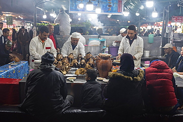 Food stall at Jemaa el-Fnaa square, Marrakech, Morocco, Africa