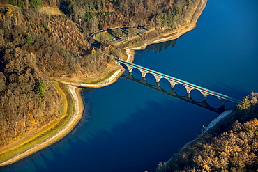 Aerial view, Bridge over Versetalsperre in autumn, Verse, dam, Ludenscheid, Sauerland, Markischer Kreis, North Rhine-Westphalia, Germany, Europe