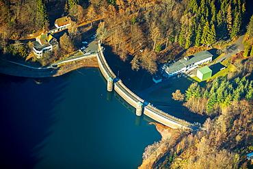 Aerial view, Dam wall, Furwiggetalsperre, Meinerzhagen, Sauerland, dam, North Rhine-Westphalia, Germany, Europe