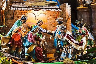 Nativity scene in the Mariahilferkirche church in Graz, Styria, Austria, Europe
