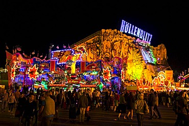 Oktoberfest, Wiesn, amusement rides, Hoellenblitz ghost train at night, Munich, Bavaria, Germany, Europe