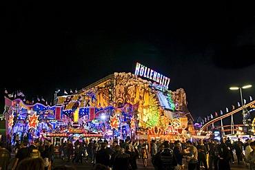Hoellenblitz Ghost Train, Oktoberfest in Munich, at night, Munich, Upper Bavaria, Bavaria, Germany, Europe