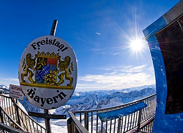Plate of Freistaat Bayern, Free State of Bavaria, peak of Zugspitze, highest mountain in Germany, Europe