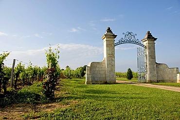 Entrance of a Saint-Emilion vineyard, Gironde, France, Europe