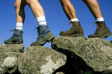 Hikers' legs, walking in the Massif of Sancy, Puy de Dome, Auvergne, France, Europe