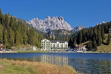 Tre Cime di Lavaredo or Drei Zinnen peaks, Istituto Pio XII, Lake Misurina, Dolomites, Italy, Europe