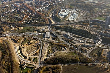 Aerial view, Autobahn A40, motorway, federal road B1, roadworks, slip road Stahlhausen, junction Donezk-Ring, Bochum, Ruhr Area, North Rhine-Westphalia, Germany, Europe
