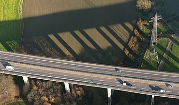 Aerial view, motorway bridge, B535, with the shadow of the bridge in the valley, Velbert, Ruhr area, North Rhine-Westphalia, Germany, Europe