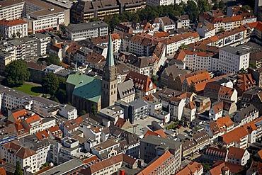 Aerial view, Nicolaikirche church, Bielefeld, Ostwestfalen-Lippe region, Westphalia, North Rhine-Westphalia, Germany, Europe