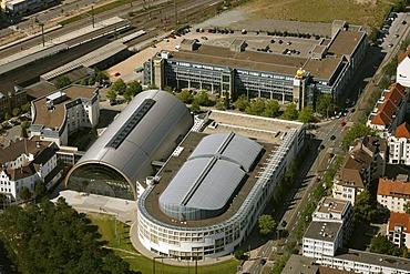 Aerial view, central station, station district, new station district with Cinemaxx, Bielefeld, Ostwestfalen-Lippe, eastern Westphalia, North Rhine-Westphalia, Germany, Europe