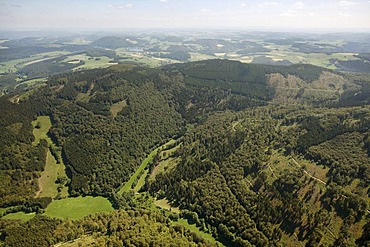 Aerial view, Diemelsee Nature Park, national park, beech forests, UNESCO World Heritage Site, Willingen Upland, Sauerland, Waldecker Land, Hesse, Germany, Europe