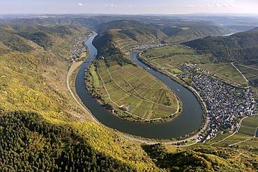 Aerial view, loop of the Moselle River near Bremm, Cochem-Zell, Eifel mountain range, Rhineland-Palatinate, Germany, Europe