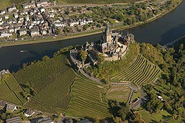 Aerial view, Cochem Imperial castle, Moselle River, Cochem, Eifel mountain range, Rhineland-Palatinate, Germany, Europe