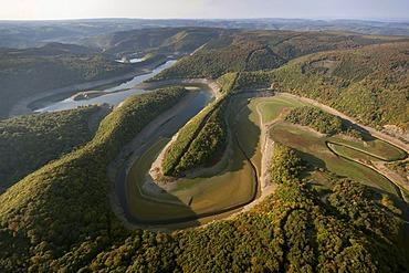 Aerial view, Urfttalsperre dam, low water, Schleiden, Eifel mountain range, North Rhine-Westphalia, Germany, Europe