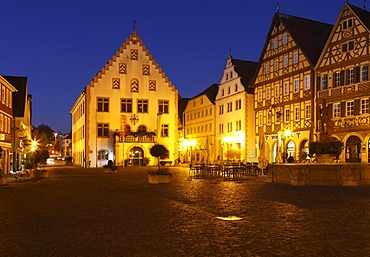 Old Town Hall, Marktplatz square, Bad Mergentheim, Tauber Valley, Hohenlohe, Baden-Wuerttemberg, Germany, Europe