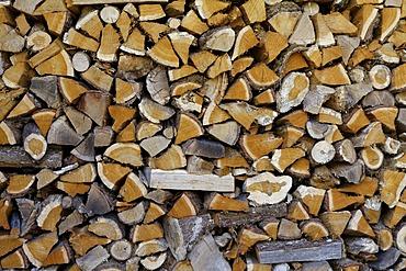 Firewood, woodshed, Correze, France, Europe