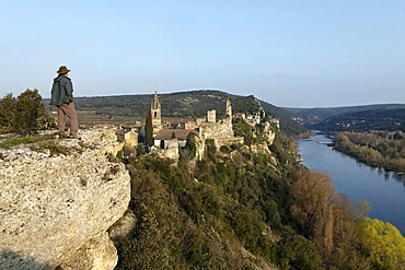 Aigueze village, labelled Les Plus Beaux Villages de France, The Most Beautiful Villages of France, medieval village at the exit of Ardeche canyon, Gard, France, Europe