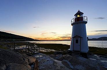 Lighthouse towards La Baie, Saguenay Fjord, St. Lawrence Marine Park, Saguenay-Lac-Saint-Jean region, Quebec, Canada