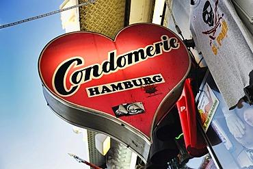 Condomerie, condom shop on Reeperbahn street, St. Pauli, Hamburg, Germany, Europe