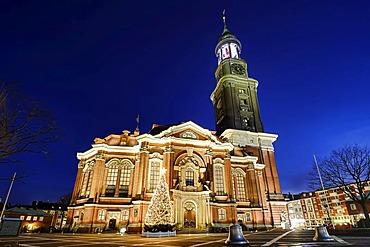 St. Michaelis Church, Michel, with Christmas tree, Neustadt quarter of Hamburg, Germany, Europe