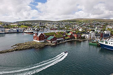 Torshavn on Streymoy, capital of the Faroe Islands, with the red houses of the island administration at the front, group of islands in the North Atlantic, Denmark, Northern Europe