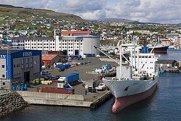 Port of Torshavn on Streymoy, capital of the Faroe Islands, group of islands in the North Atlantic, Denmark, Northern Europe