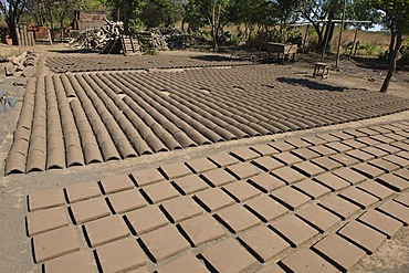 Production of bricks, the bricks are dried in the sun before being fired, Nicaragua, Central America