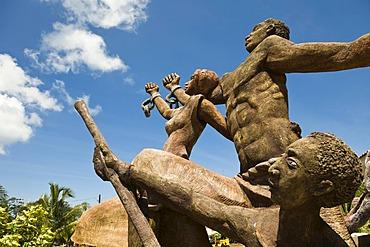 Sculpture celebrating the abolishment of slavery, Big Corn Island, Caribbean Sea, Nicaragua, Central America