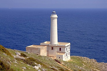 Capo Otranto lighthouse in front of the Mediterranean Sea, Puglia, Apulia, Italy, Europe