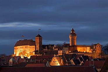 Kaiserburg, Imperial Castle of Nuremberg, at dusk, Nuremberg, Middle Franconia, Bavaria, Germany, Europe
