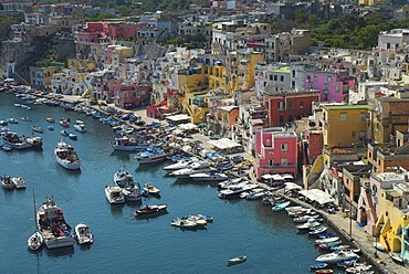 The colorful houses of the fishing harbour of Procida island, Flegrean Islands, Gulf of Naples, Campania, southern Italy, Europe