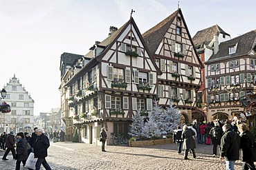 Christmassy and wintery Colmar, Alsace, France, Europe