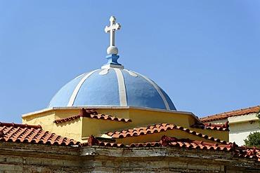 Dome of a church, Marathocampos, Samos Island, Aegean Sea, southern Sporades islands, Greece, Europe